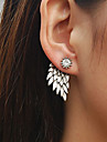 Women\'s Retro Angel Wings Zircon Earrings Alloy Feather Stud Earrings 1 pair