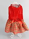 Cachorro Vestidos Roupas para Caes Fofo Da Moda Mantenha Quente Natal Xadrez Vermelho