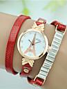 Women\'s Simulated Diamond Watch Bracelet Watch Fashion Watch Quartz Imitation Diamond Leather Band Eiffel Tower Black White Red Brown
