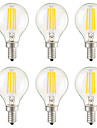 KWB 6pcs 3W 400lm E14 E26 / E27 E12 LED Filament Bulbs G45 4 LED Beads COB Dimmable Decorative Warm White 110-130V 220-240V