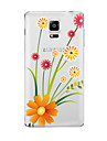 Case For Samsung Galaxy Transparent Pattern Back Cover Flower Soft TPU for Note 5 Note 4 Note 3 Note 2