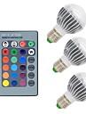 3W E26/E27 Круглые LED лампы G50 1 COB 300 lm RGB К Диммируемая На пульте управления Декоративная AC 85-265 V