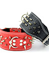 Dog Collar Adjustable / Retractable Studded Rivet Solid Genuine Leather Black Red