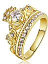 Women\'s Crystal AAA Cubic Zirconia Statement Ring Ring Engagement Ring Copper Gold Plated Crown Statement Ladies Personalized Luxury Fashion Euramerican Ring Jewelry Gold / Rose Gold For Christmas