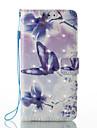 Pour Portefeuille Porte Carte Avec Support Clapet Motif Magnetique Coque Coque Integrale Coque Papillon Dur Cuir PU pour HuaweiHuawei P9