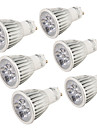 Youoklight® 6pcs gu10 5w 400-450lm 3000k / 6000k 5-high power led spotlight lampada bulbo (ac110-120v / 220-240v) -silver