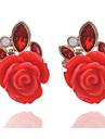 Mulheres Brincos Curtos Floral Flores Moda Resina Strass Liga Formato de Flor Forma Geometrica Joias Para Casamento