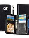 Для Кошелек / Бумажник для карт / со стендом / Флип / Магнитный Кейс для Чехол Кейс для Один цвет Твердый Искусственная кожа SamsungNote