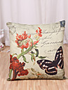 1 Pcs Retro Butterfly With Flowers Pillow Cover Classic Cotton/Linen Pillowcase