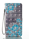 Para iphone 7 mais 7 efeito 3d padrao de flor azul material de PU caixa de caixa de telefone de caixa 6 mais 6s 5 se