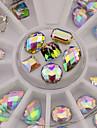 36PCS 3D Nail Art Glitter Rhinestones Wheel Nail Decoration Design Tools White AB Nail Gem
