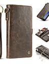 Etui Til Samsung Galaxy S8 Plus / S8 Lommebok / Kortholder / Flipp Heldekkende etui Ensfarget Hard ekte laer til S8 Plus / S8
