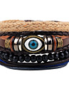 Men\'s Women\'s Leather Bracelet Strand Bracelet Jewelry Handmade Fashion Hip-Hop Personalized DIY Leather Wood Alloy Evil Eye Twist Circle
