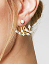 Women\'s Stud Earrings Front Back Earrings Basic Fashion Simple Style Costume Jewelry Alloy Leaf Jewelry For Daily Casual