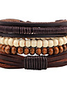 Men\'s Wrap Bracelet Strand Bracelet Personalized Handmade Fashion Adjustable Leather Wood Round Jewelry Street Costume Jewelry Brown