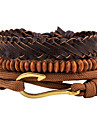 Men\'s Leather Bracelet Strand Bracelet Wrap Bracelet Handmade Punk Adjustable Personalized DIY Leather Wood Alloy Round Jewelry For Daily
