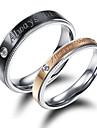Men\'s Women\'s Couple Rings AAA Cubic Zirconia Fashion Simple Style Elegant Cubic Zirconia Titanium Steel Circle Jewelry For Wedding