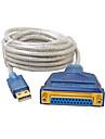 USB 2.0 Кабель-переходник, USB 2.0 to DB25 Кабель-переходник Male - Female 3.0M (10Ft)