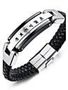 Homme Manchettes Bracelets Bracelet Bijoux Personnalise Mode Acier inoxydable Cuir Forme Geometrique Bijoux Pour Decontracte