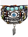 Men\'s Leather Bracelet Strand Bracelet Hip-Hop Personalized Leather Alloy Round Evil Eye Jewelry For Stage Street