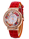 Women\'s Fashion Watch Wrist watch Floating Crystal Watch Quartz Leather Band Cool Casual Black White Red Purple