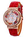 여성용 패션 시계 손목 시계 플로팅 크리스탈 시계 석영 가죽 밴드 멋진 캐쥬얼 블랙 화이트 레드 퍼플