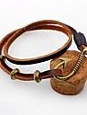 Homme Femme Bracelets en cuir Vintage Personnalise Cuir Alliage Forme Ronde Crochets Bijoux Pour Decontracte Sortie
