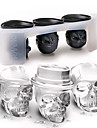 3Pcs/Set 3D Skull Shape Ice Mould Set Silicone Ice Cube Tray Home Kitchen Tool