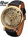WINNER Ανδρικά Ρολόι Καρπού μηχανικό ρολόι Αυτόματο κούρδισμα 30 m Εσωτερικού Μηχανισμού Δέρμα Μπάντα Αναλογικό Πολυτέλεια Βίντατζ Μαύρο - Χρυσό Ασημί Χρυσό / Ασημί / Ανοξείδωτο Ατσάλι