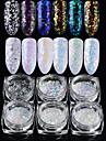 6pcs/set Poudre acrylique / Paillettes / Poudre Elegant & Luxueux / Brille & Scintille / Laser holographique Nail Art Design