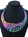 Women\'s Colorful Statement Necklace - Metallic Colorful Peacock Rainbow Necklace For Party Daily