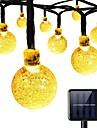 Chaine solaire lumieres 8 modes 23ft 30leds boule de cristal chaine lumieres pour jardin ete vacances parti chaud blanc