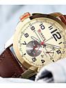 남성용 캐쥬얼 시계 일본어 석영 방수 캐쥬얼 시계 큰 다이얼 가죽 밴드 캐쥬얼 우아한 브라운