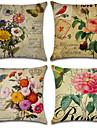 4 pcs Cotton/Linen Pillow CoverFloral Bohemian Style Retro