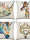 4 pcs Cotton / Linen Pillow Cover, 3D Retro Animal