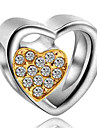 DIY Jewelry 1 pcs Beads Imitation Diamond Alloy Yellow Royal Blue Heart Bead 0.2 cm DIY Necklace Bracelet