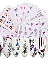 50pcs 스티커 및 테이프 물 이동 스티커 네일 스티커 네일 스탬핑 템플릿 스티커 네일 아트 팁 네일 아트 디자인 세트 DIY 꽃 네일 데칼