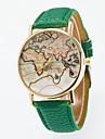 Муж. Жен. Кварцевый Модные часы Китайский Повседневные часы Кожа Группа Винтаж World Map Pattern Черный Синий Красный Оранжевый Зеленый