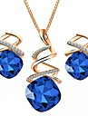 Women\'s Austria Crystal Jewelry Set 1 Necklace / Earrings - Formal / Simple Geometric Purple / Red / Blue Jewelry Set For Party / Daily