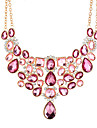 Cubic Zirconia Statement Necklace Ladies Oversized Pink 50+8.3 cm Necklace Jewelry For Wedding Party / Evening Masquerade Engagement Party Prom Club