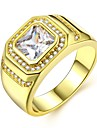 Men\'s Stylish Solitaire Radiant Cut Ring Imitation Diamond Precious Luxury Classic Fashion Dubai Ring Jewelry Gold For Wedding Carnival Masquerade Engagement Party Prom Date 8 / 9 / 10 / 11 / 12