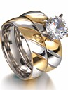 Par Kvadratisk Zirconium Stilfuldt Solitaire Parringe Forlovelsesring - Rhinsten, Titanium Stål, Rustfrit stål Kreativ Damer, Stilfuld, Simple, Klassisk Smykker Guld Til Bryllup Maskerade