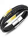 Men\'s Braided Loom Bracelet - Titanium Steel, Gold Plated Trendy, Korean Bracelet Black For Daily