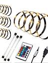 zdm 4x50cm usb 5050 rgb kit de iluminacion de fondo de tv led para tiras de bais de varios colores con control remoto de 24 teclas nuevo diseno / autoadhesivo usb