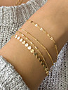4stk Dame Link / Chain ID armbånd Armbånd sæt Damer Trendy Elegant Armbånd Smykker Guld Til Daglig Arbejde