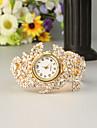 FEIS Damen damas Uhr Armband-Uhr Quartz Legierung Gold Chronograph Analog-Digital Modisch Gold