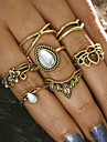6pcs Women\'s Vintage Style Ring Set - Alloy Flower Ladies, Romantic Jewelry Gold / Silver For Bar Festival